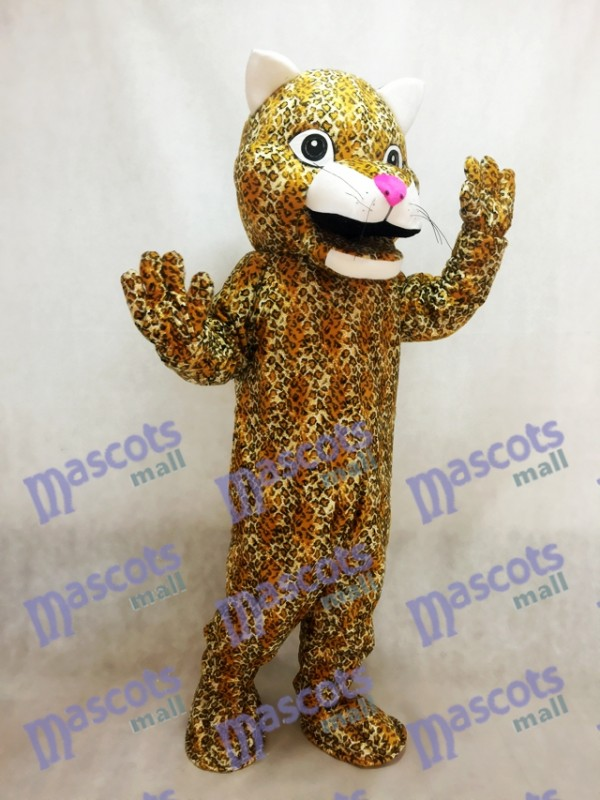 Leopardo saltador amarillo con nariz rosada Disfraz de mascota Animal