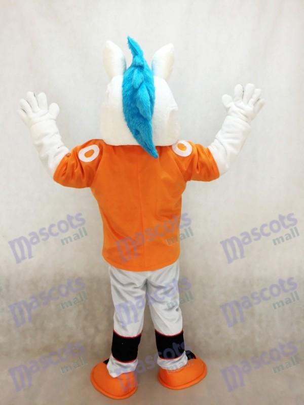 Caballo mustang Broncos con Melena azul Disfraz de mascota Animal