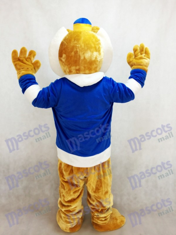 Lindo rey león con ropa azul y corona Disfraz de mascota Animal