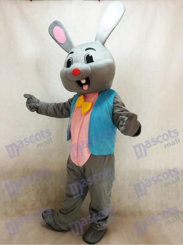 Pascua de Resurrección Gris Conejo en Chaleco Azul Disfraz de mascota Animal