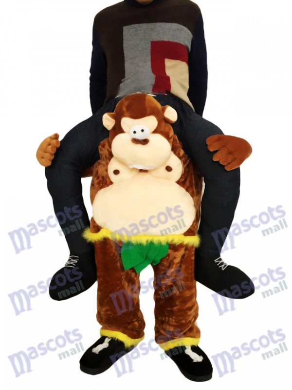 Mono a cuestas Llévame Seguir adelante Mono marrón con hojas verdes Disfraz de mascota