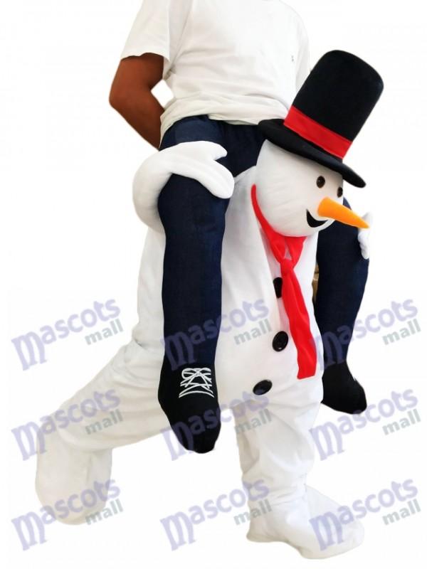 Muñeco de nieve blanco a cuestas Llévame Seguir adelante Disfraz de mascota