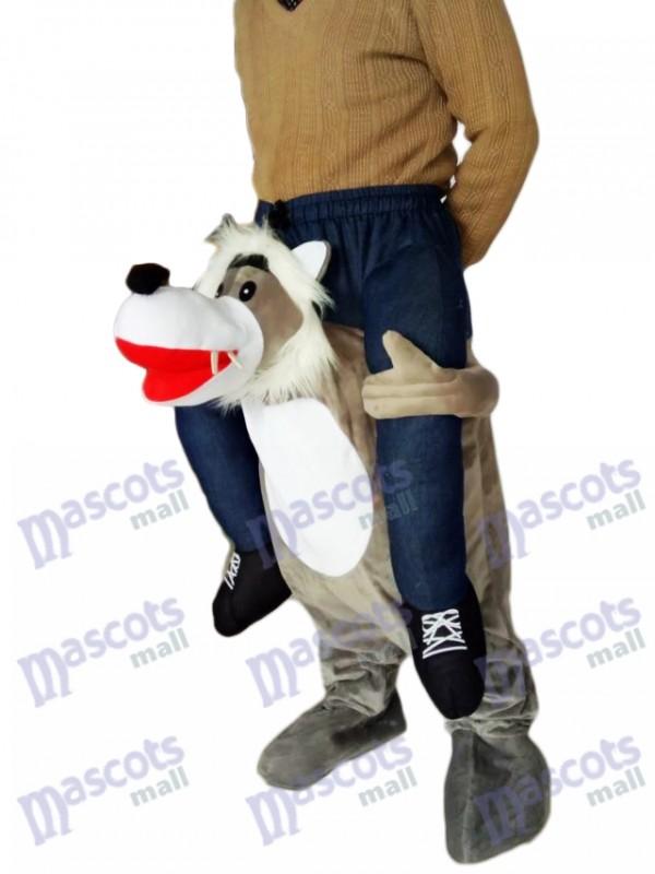 Lobo a cuestas Llévame Seguir adelante Lobo gris Disfraz de Mascota de Mario